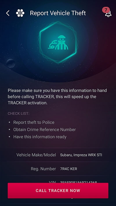 Tracker report vehicle stolen